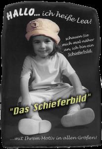 Kinderfoto auf Schieferplatte